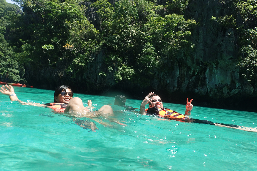 Chris and Queenee enjoying the clear waters of the Small Lagoon