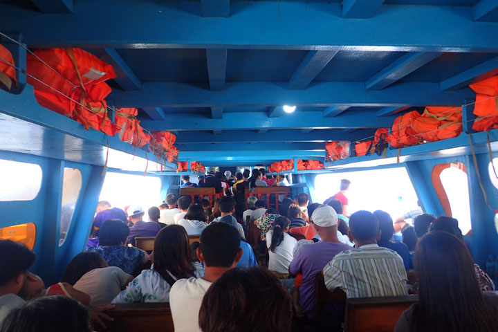 Inside the passenger boat going to Dapa port